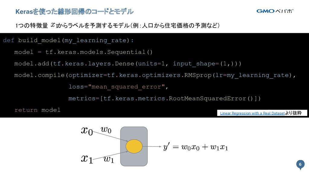 6 6 Kerasを使った線形回帰のコードとモデル def build_model(my_le...