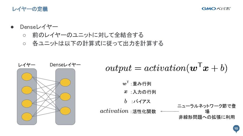 10 10 レイヤーの定義 ● Denseレイヤー ○ 前のレイヤーのユニットに対して全結合...