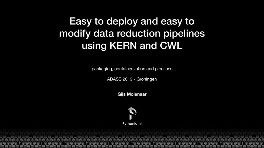 Easy to deploy and easy to modify data reductio...