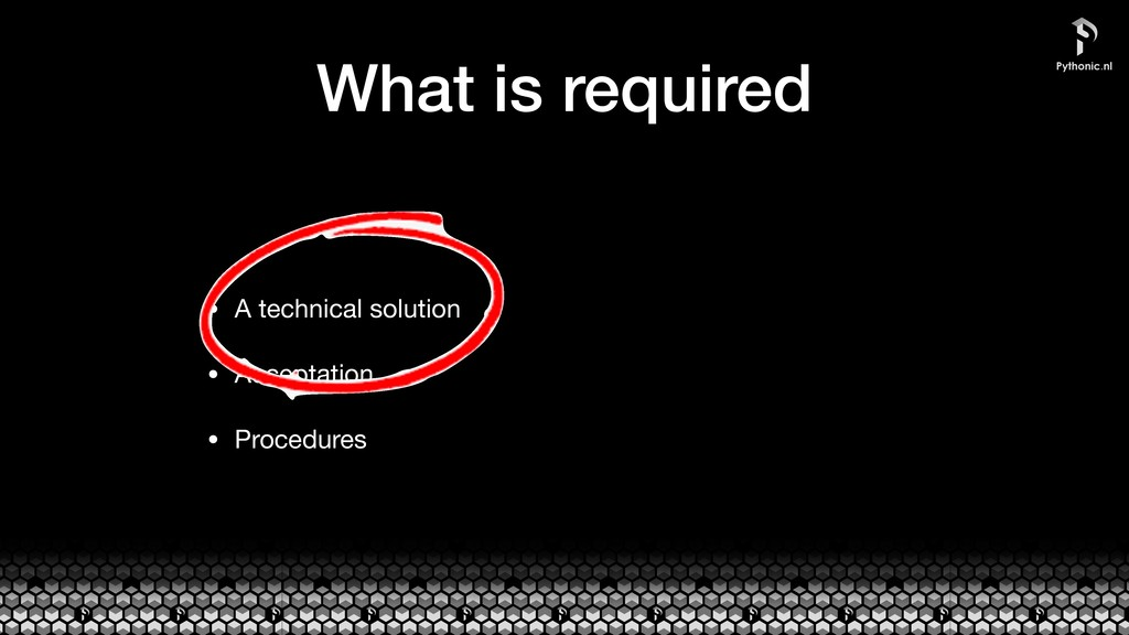 What is required • A technical solution  • Acce...
