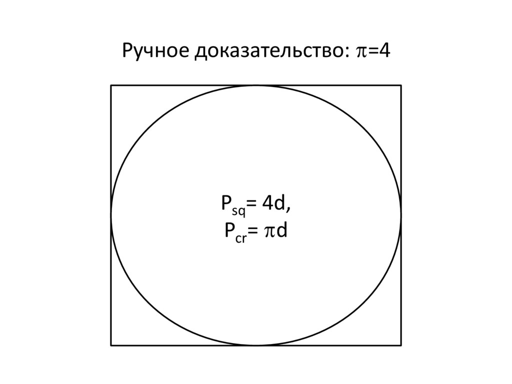 Ручное доказательство: =4 Psq = 4d, Pcr = d