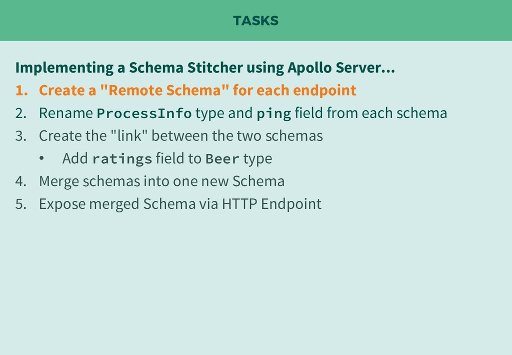 TASKS Implementing a Schema Stitcher using Apol...