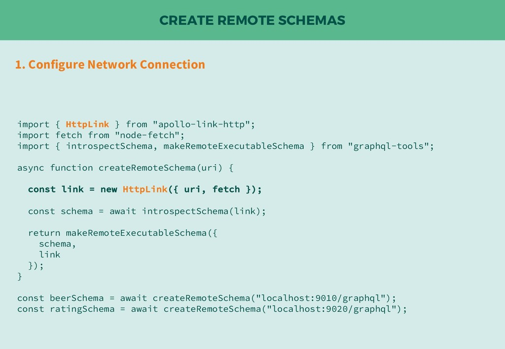 CREATE REMOTE SCHEMAS 1. Configure Network Conn...