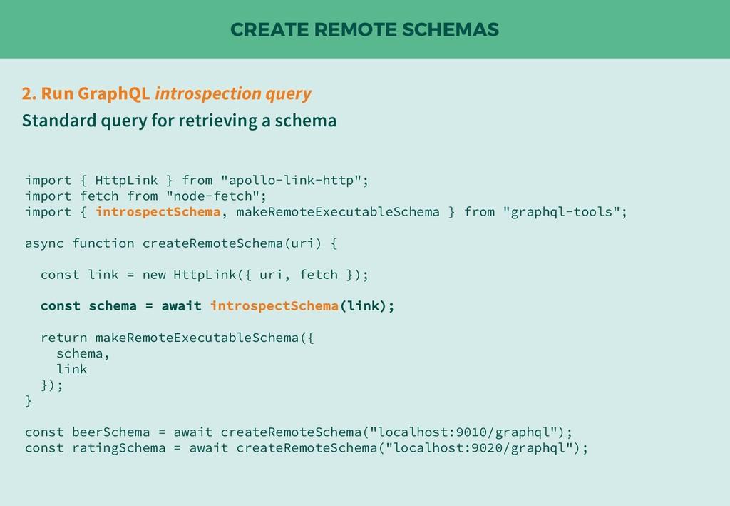 CREATE REMOTE SCHEMAS 2. Run GraphQL introspect...
