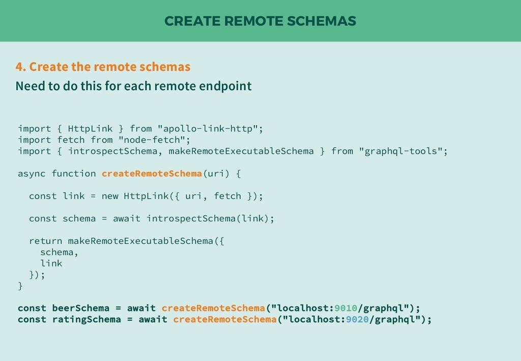 CREATE REMOTE SCHEMAS 4. Create the remote sche...