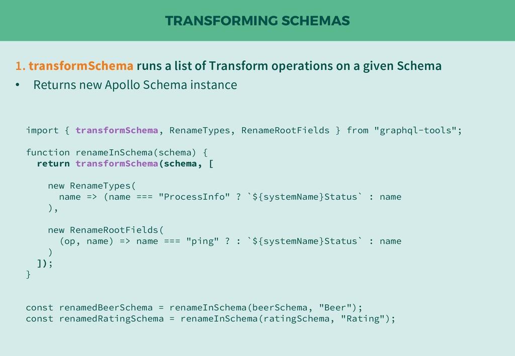 TRANSFORMING SCHEMAS 1. transformSchema runs a ...