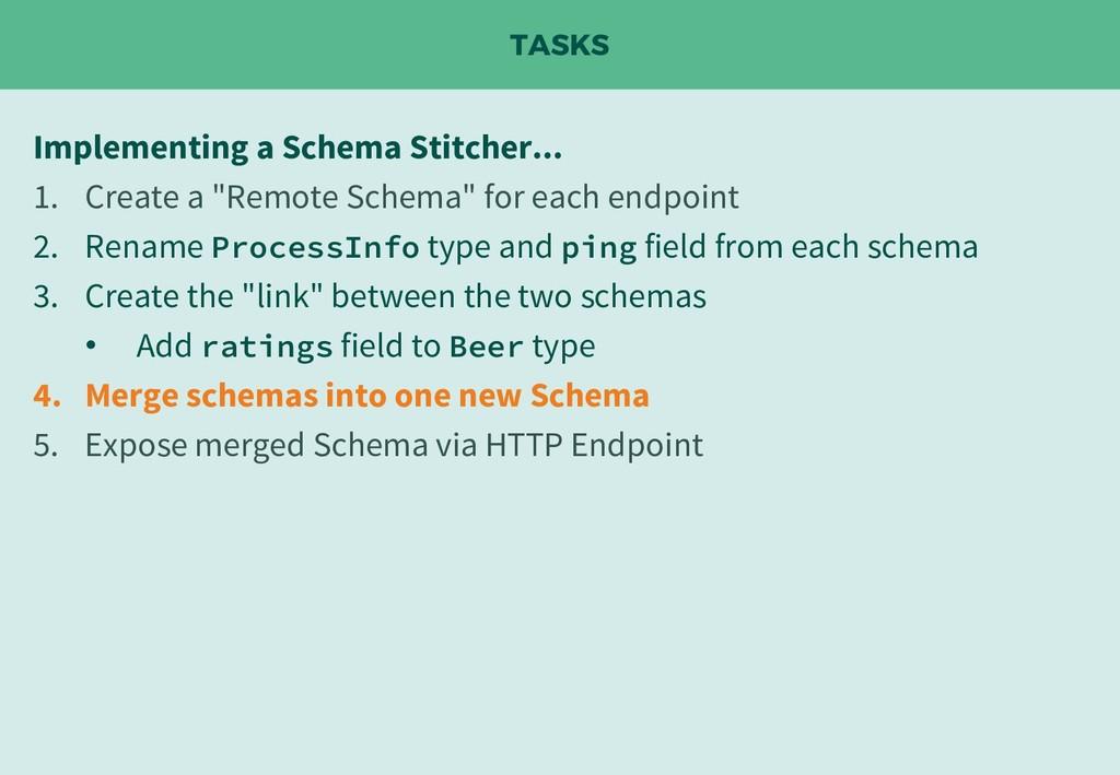 TASKS Implementing a Schema Stitcher... 1. Crea...