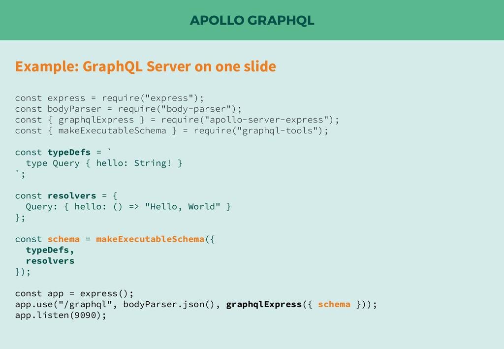 APOLLO GRAPHQL Example: GraphQL Server on one s...