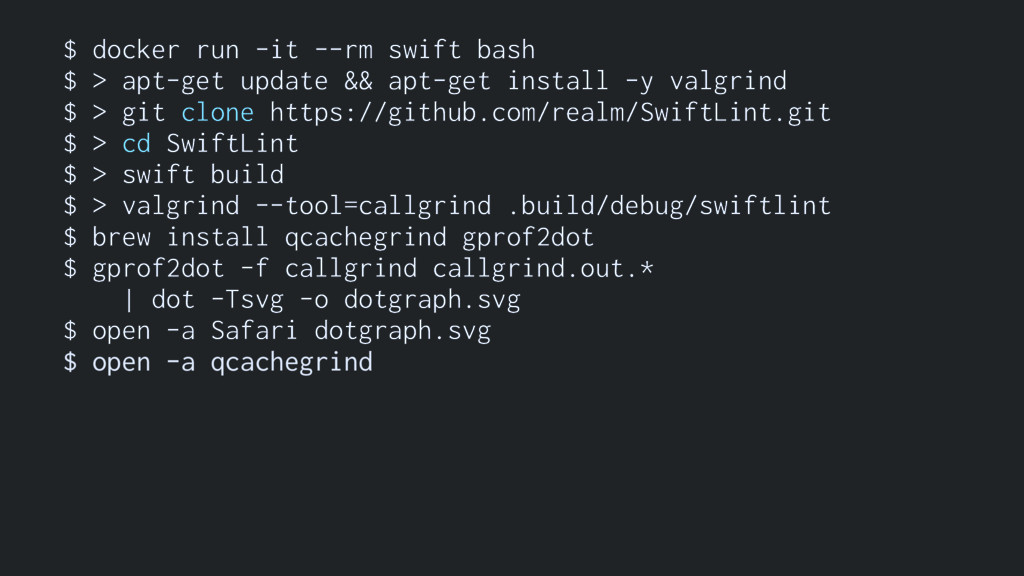 $ docker run -it --rm swift bash $ > apt-get up...