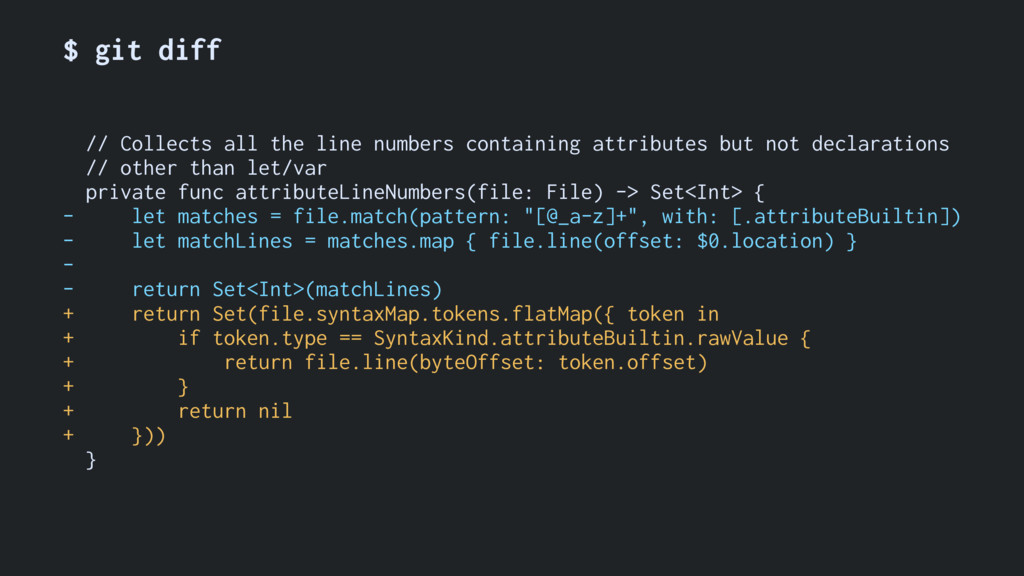 $ git diff // Collects all the line numbers con...