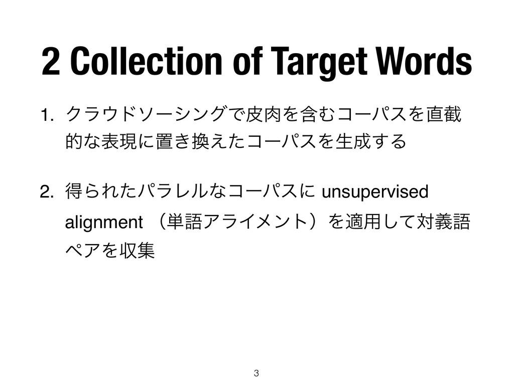 2 Collection of Target Words 1. ΫϥυιʔγϯάͰൽΛؚΉ...