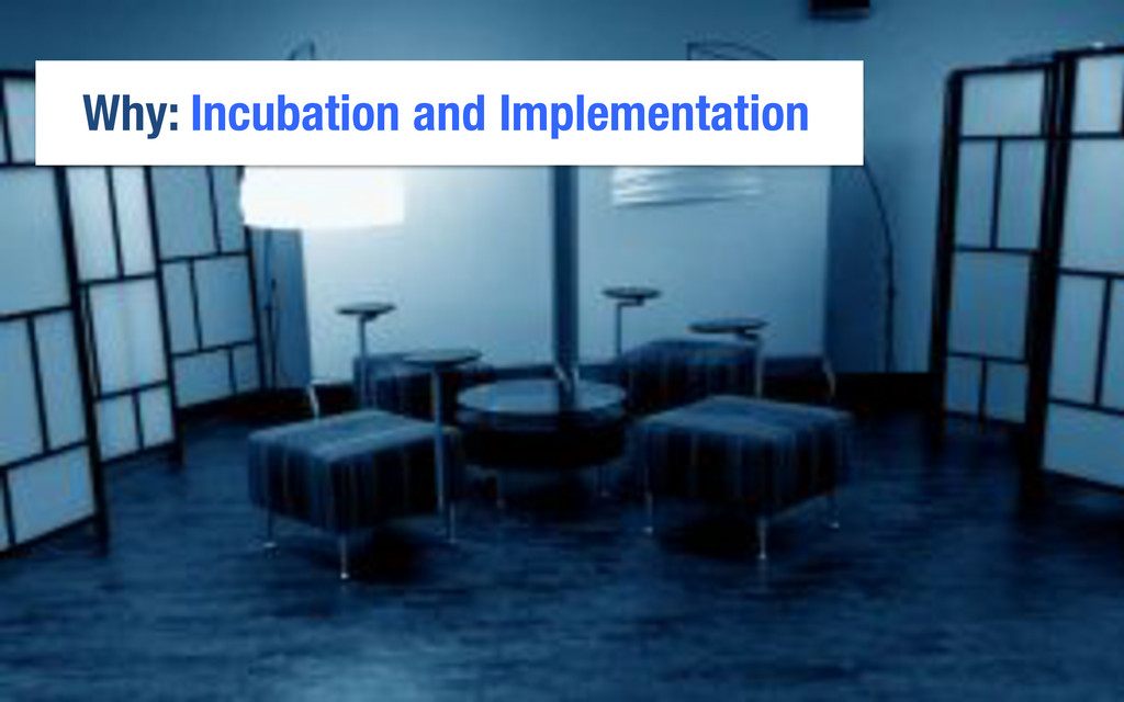 Why: Incubation and Implementation