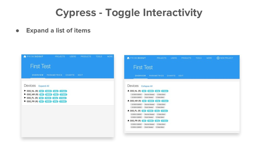 ● Expand a list of items Cypress - Toggle Inter...