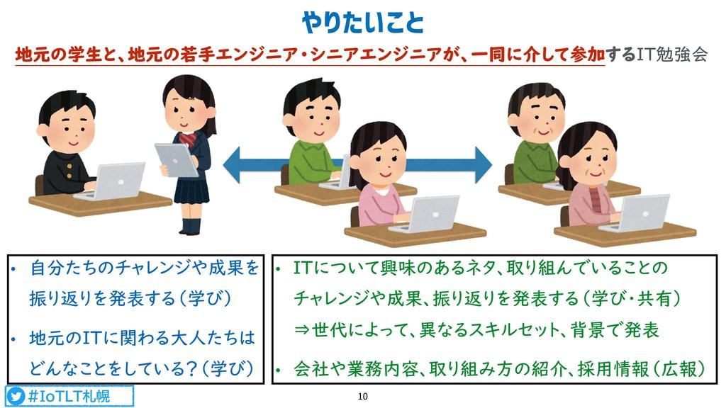 #IoTLT札幌 やりたいこと 10 地元の学生と、地元の若手エンジニア・シニアエンジニアが、...