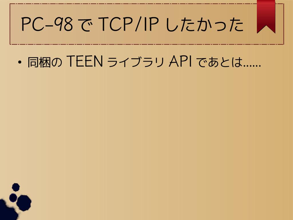 PC-98 で TCP/IP したかった ● 同梱の TEEN ライブラリ API であとは……