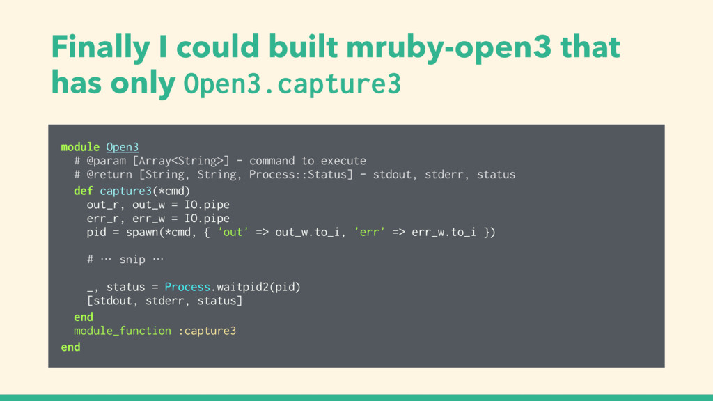Finally I could built mruby-open3 that has only...