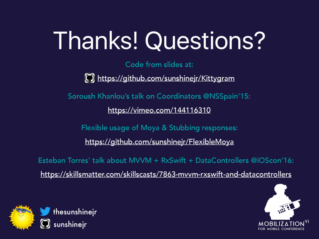 Thanks! Questions? sunshinejr thesunshinejr htt...