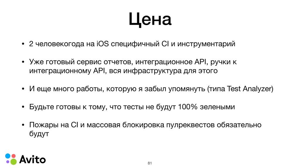 Цена • 2 человекогода на iOS специфичный CI и и...