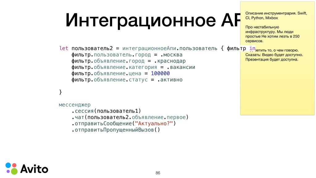 Интеграционное API Описание инструментрария. Sw...
