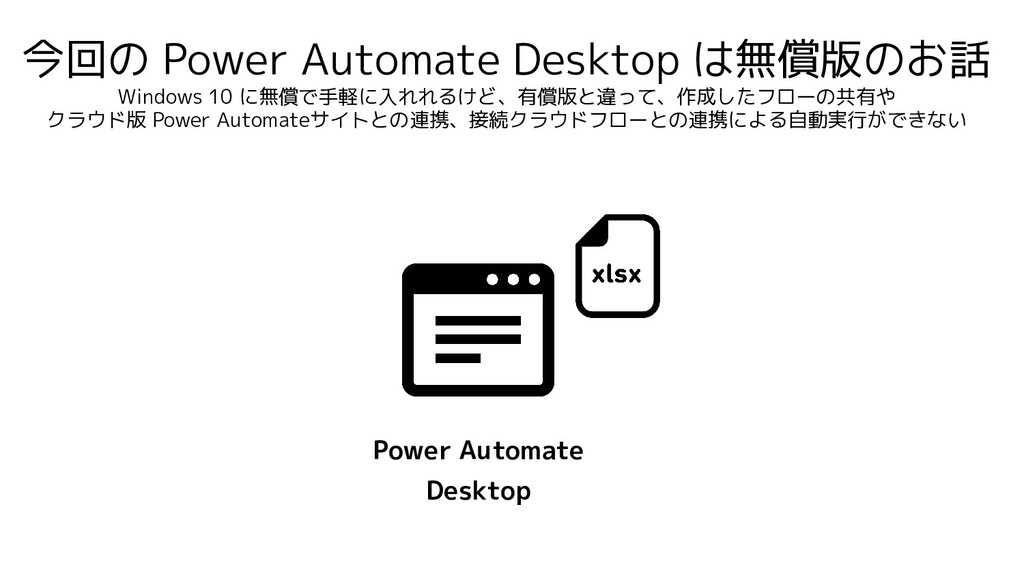 今回の Power Automate Desktop は無償版のお話 Windows 10 に...