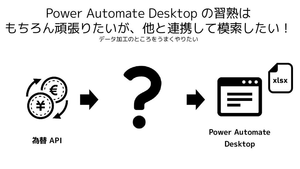 Power Automate Desktop の習熟は もちろん頑張りたいが、他と連携して模索...