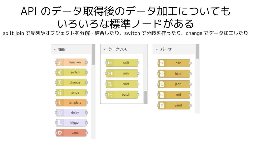 API のデータ取得後のデータ加工についても いろいろな標準ノードがある split join...