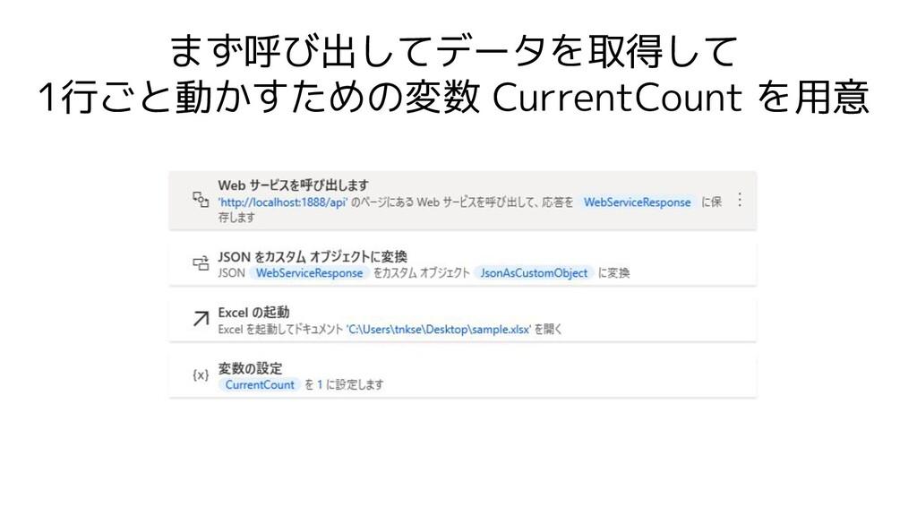 まず呼び出してデータを取得して 1行ごと動かすための変数 CurrentCount を用意