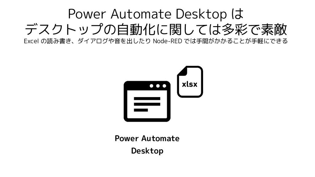 Power Automate Desktop は デスクトップの自動化に関しては多彩で素敵 E...