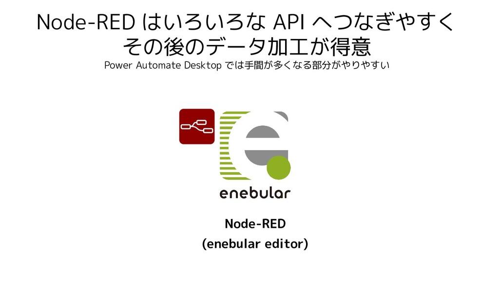 Node-RED はいろいろな API へつなぎやすく その後のデータ加工が得意 Power ...