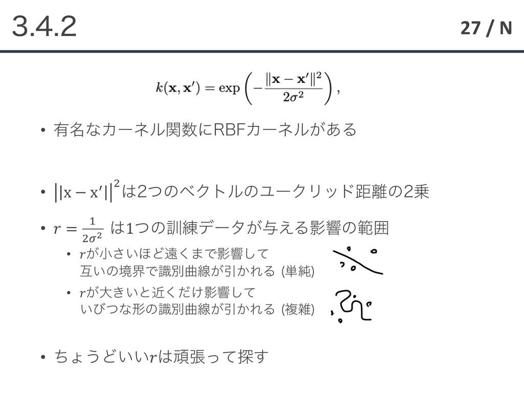 27 / N  • ༗໊ͳΧʔωϧؔʹ3#'Χʔωϧ͕͋Δ • x − x4 ...