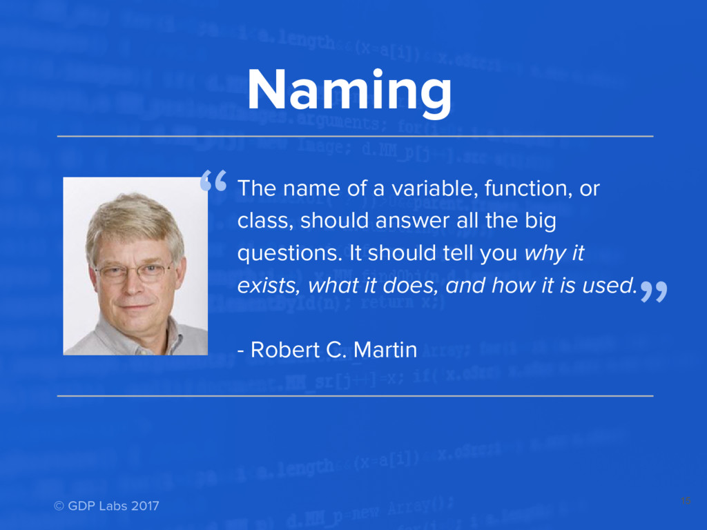 15 Naming The name of a variable, function, or ...
