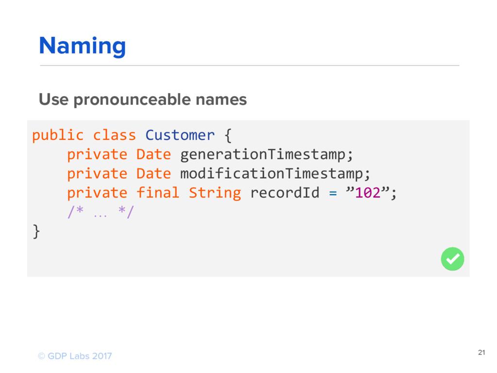 21 Use pronounceable names public class Custome...