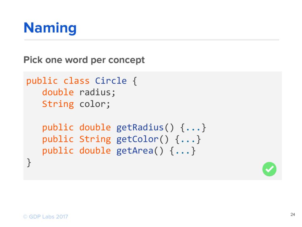 24 Pick one word per concept public class Circl...