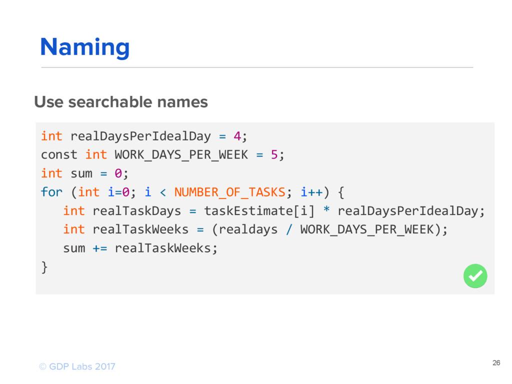 26 Use searchable names int realDaysPerIdealDay...