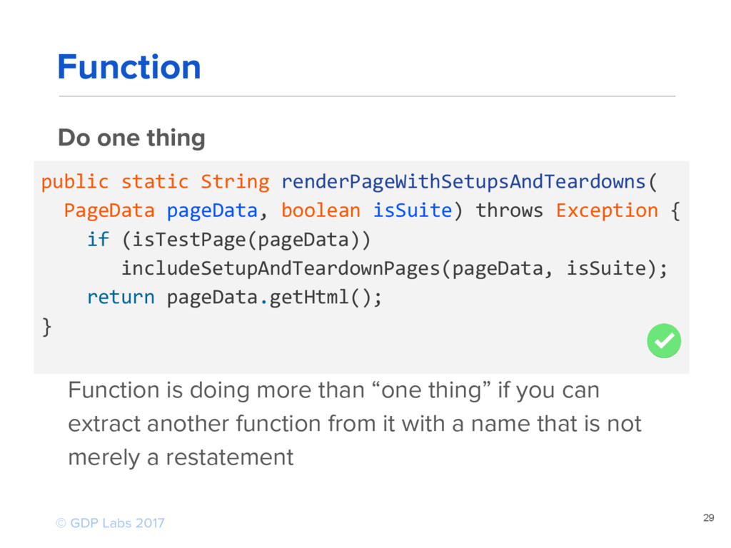 29 Do one thing public static String renderPage...