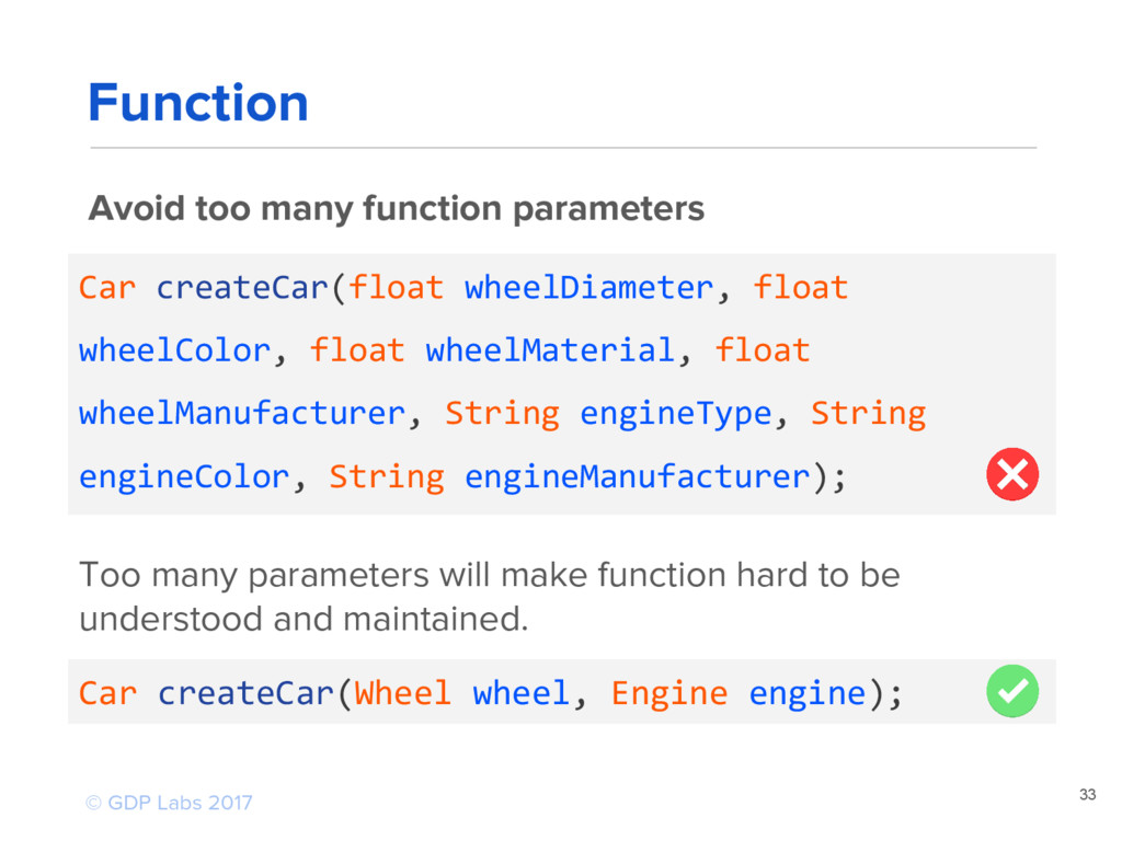 33 Avoid too many function parameters Car creat...