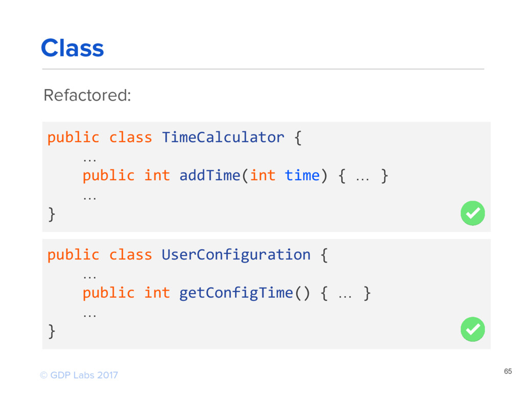 Refactored: 65 public class TimeCalculator { … ...
