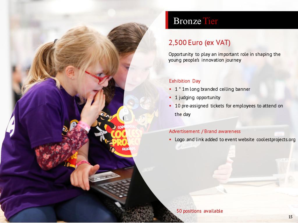 15 Bronze Tier 2,500 Euro (ex VAT) Advertisemen...