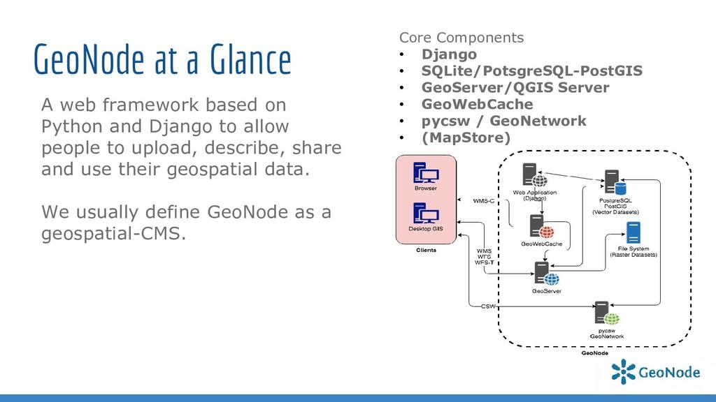 GeoNode at a Glance A web framework based on Py...