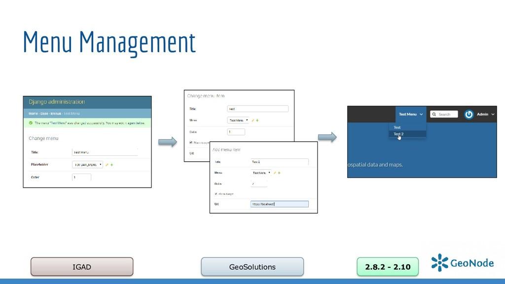 Menu Management IGAD GeoSolutions 2.8.2 - 2.10