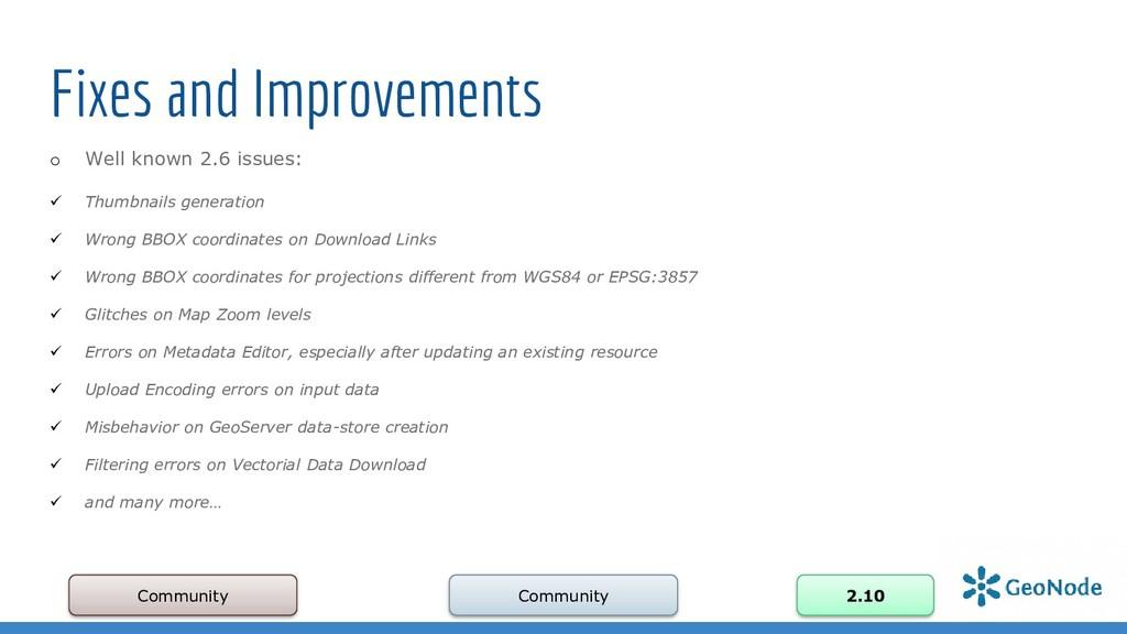 Fixes and Improvements Community Community 2.10...