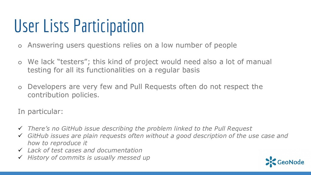 User Lists Participation o Answering users ques...