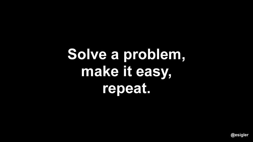@esigler Solve a problem, make it easy, repeat.