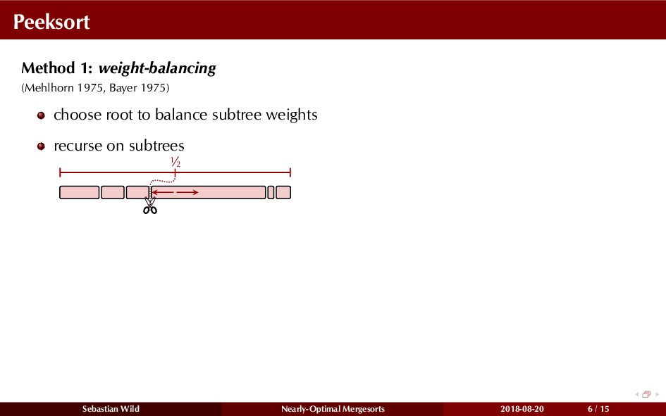 Peeksort Method 1: weight-balancing (Mehlhorn 1...
