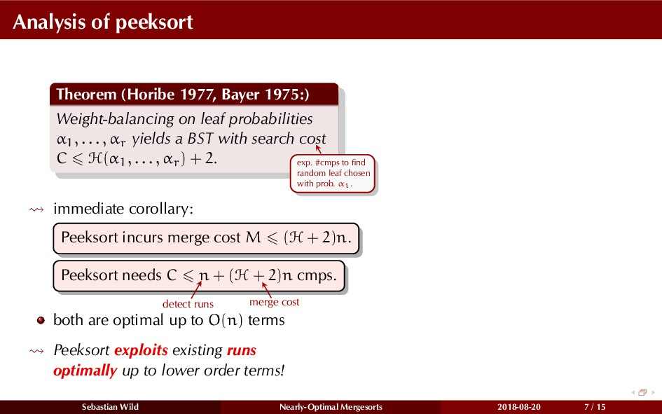 Analysis of peeksort Theorem (Horibe 1977, Baye...