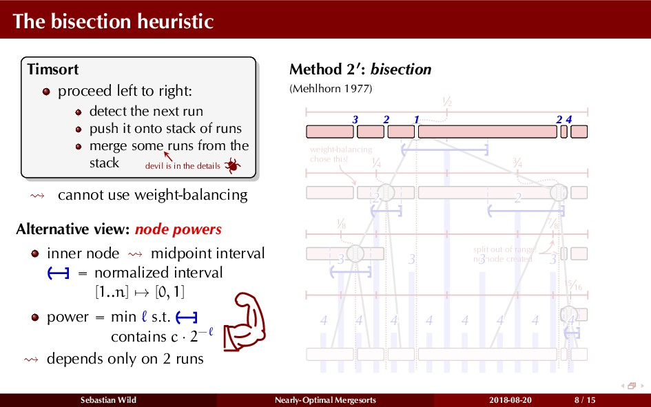The bisection heuristic Timsort proceed left to...