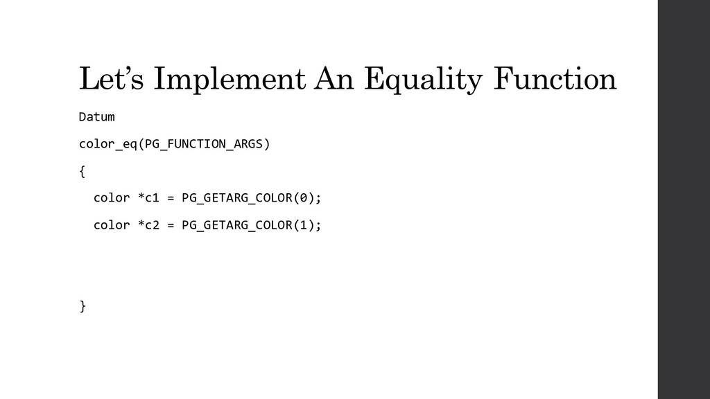 Let's Implement An Equality Function Datum colo...