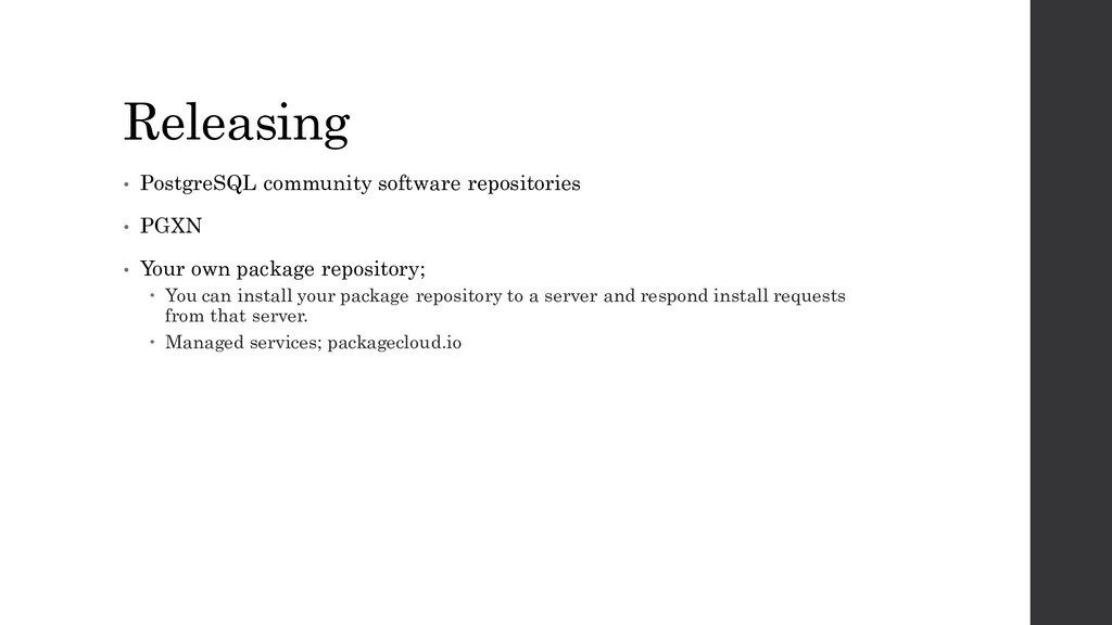 Releasing • PostgreSQL community software repos...