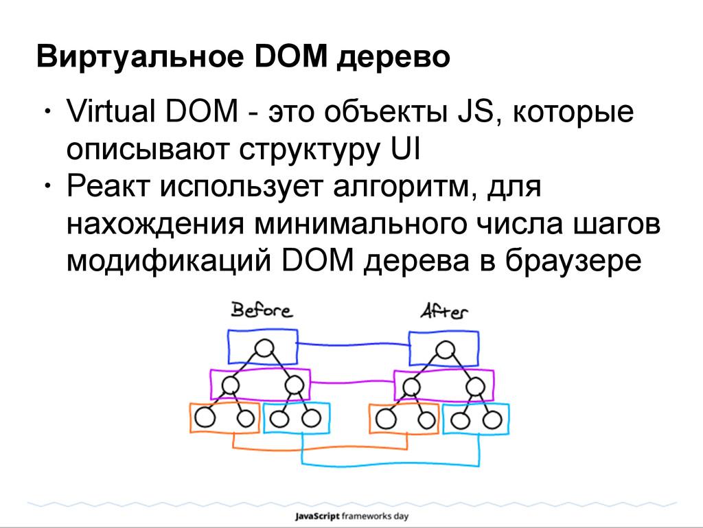 Виртуальное DOM дерево • Virtual DOM - это объе...