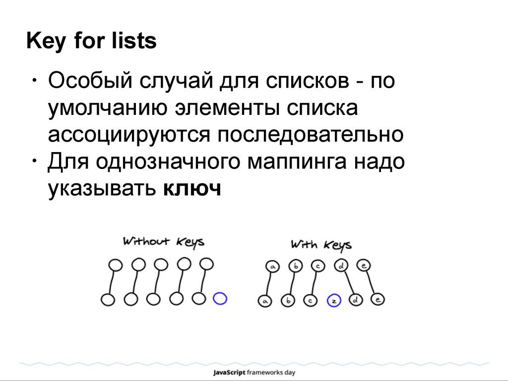 Key for lists • Особый случай для списков - по ...
